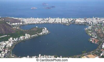 Aerial View Of Rodrigo De Freitas Lake In Rio De Janeiro,...