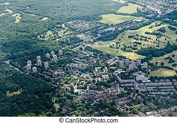 Aerial view of Roehampton, West London