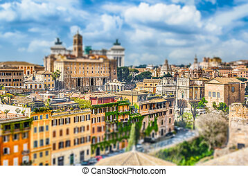 Aerial view of Rome city centre. Tilt-shift effect applied