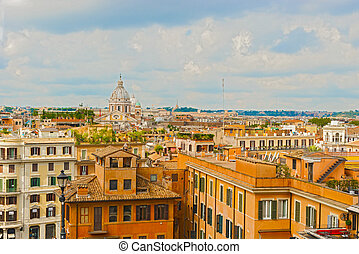 Aerial view of Rome from the stairs in Piazza di Spagna