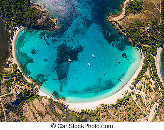 Aerial  view  of Rondinara beach in Corsica Island in France