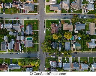 Aerial view of roof houses in small town in the countryside top view above houses at America NJ