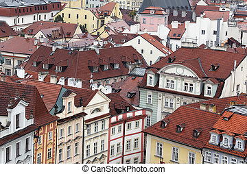 aerial view of roofs in Prague city