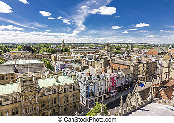 Aerial view of roofs and spires of Oxford, England with blue sky in background