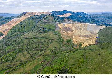 Aerial view of Rosia Poieni open pit copper mine