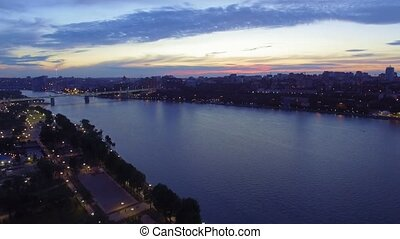 Aerial view of Rostov-on-Don city. Sunset over the river