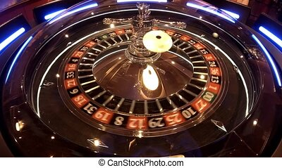 Aerial view of Roulette Wheel spinning under glass sphere...