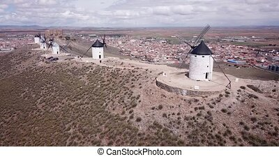 Aerial view of Route of Don Quixote with windmills in ...