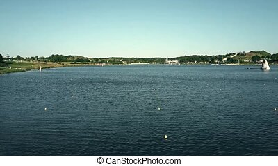 Aerial view of rowing tracks on lake Malta in Poznan, Poland