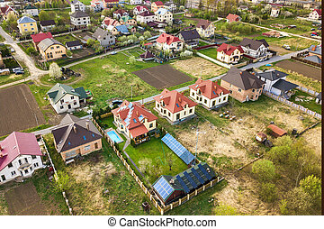 Aerial view of rural area in town with residential houses