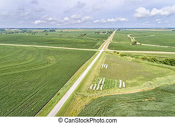 aerial view of rural Nebraska landscape