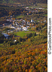Aerial view of rural Vermont town.