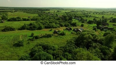 Aerial view of Russian country summer landscape