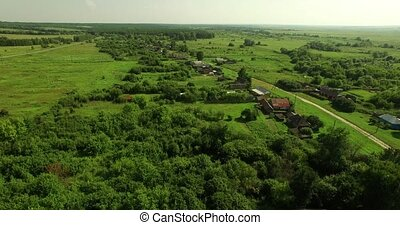 Aerial view of Russian country summer landscape - Beautiful...