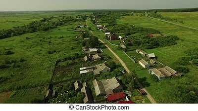 aerial view of Russian countryside