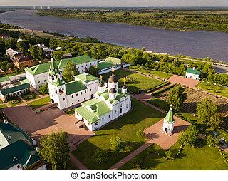 Aerial view of russian landmark Spaso-Preobrazhensky monastery, Murom