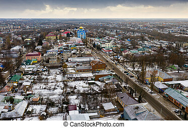 Aerial view of Russian town of Dankov in winter day