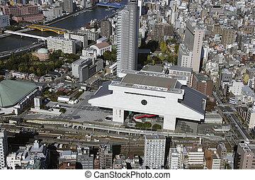 Aerial view of Ryogoku Kokugikan areas