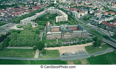 Aerial view of Sachsisches Staatsministerium der Finanzen or Saxon State Ministry of Finance in Dresden, Germany