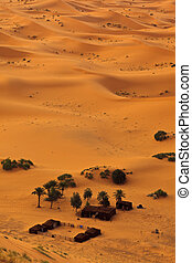 Aerial view of Sahara and bedouin camp, Morocco - Sahara, ...