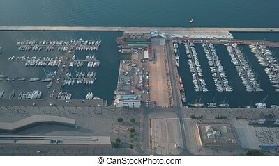 Aerial view of sailboats at marina in Cartagena, Spain