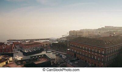 Aerial view of sailboats at marina in Naples, Italy - Aerial...