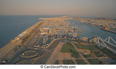 Aerial view of sailboats at marina in Valencia, Spain