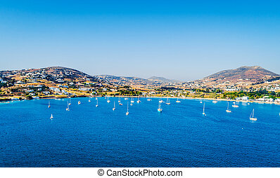 Aerial view of sailboats floating in the sea, Paros, Greece