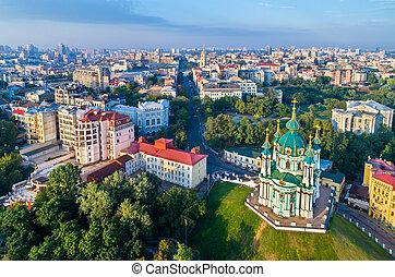 Aerial view of Saint Andrew church in Kiev, Ukraine