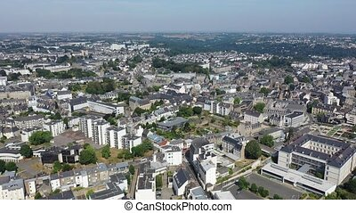 Aerial view of Saint-Brieuc city in Brittany region of ...