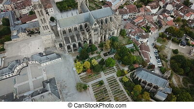 Saint-Etienne Cathedral in Limoges, France - Aerial view of ...