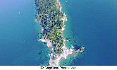 Aerial view of Saint Nicholas Island in Adriatic Sea. Sveti...