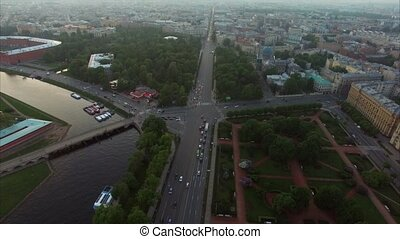 Aerial view of Saint-Petersburg at the evening