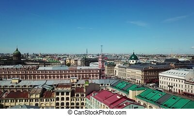 Aerial view of Saint-Petersburg city and Nevsky avenue