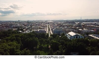 Aerial view of Saint-Petersburg city and park