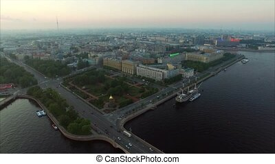 Aerial view of Saint-Petersburg embankment at the evening
