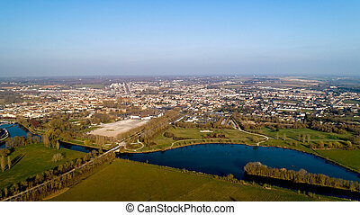 Aerial view of Saintes city in Charente Maritime