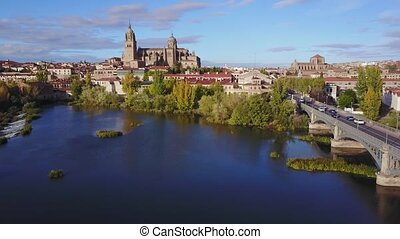 Aerial view of Salamanca with historic cathedral elevated...