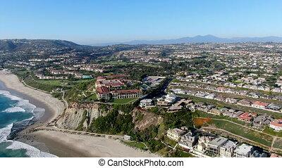Aerial view of Salt Creek and Monarch beach coastline, ...