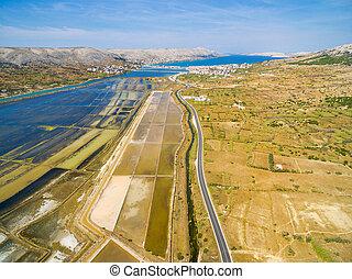 Aerial view of saltern on Pag island, Croatia.