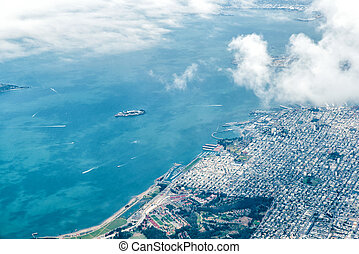 Aerial view of San Francisco and Alcatraz