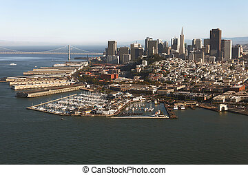 Aerial view of San Francisco downtown and the Bay Bridge