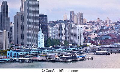 Aerial view of San Francisco downtown California USA