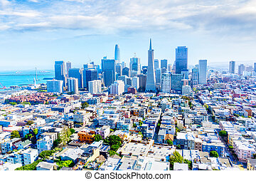 Aerial View of San Francisco Downtown Skyline