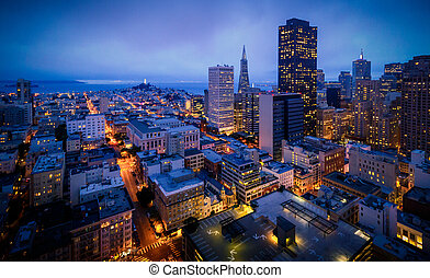 Aerial view of San Francisco Skyline at Night