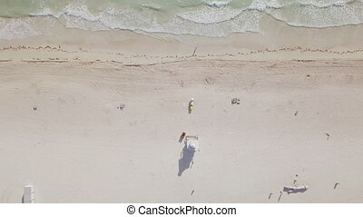 Aerial view of sandy beach. miami beach - Aerial view of...