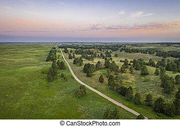 aerial view of sandy road in Nebraska