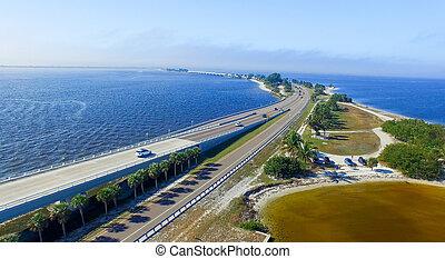 Aerial view of Sanibel Causeway, Florida.