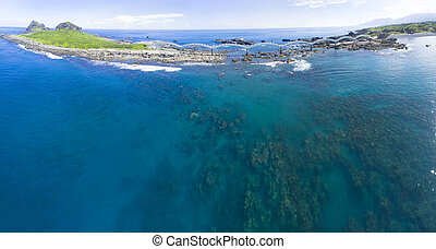 aerial view of Sansiantai east coast . Taiwan.