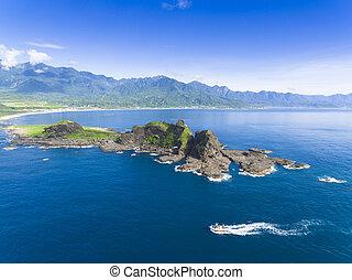 aerial view of Sansiantai in Taitung. Taiwan